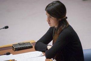 Nadia Murad Basee Taha, a 21-year-old Iraqi woman of the Yazidi faith and a victim of abduction and torture by the terrorist group Islamic State, during the Security Council meeting on human trafficking in situations of conflict